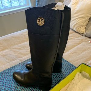 Tory Burch Junction Riding Boot Tumbled Leather